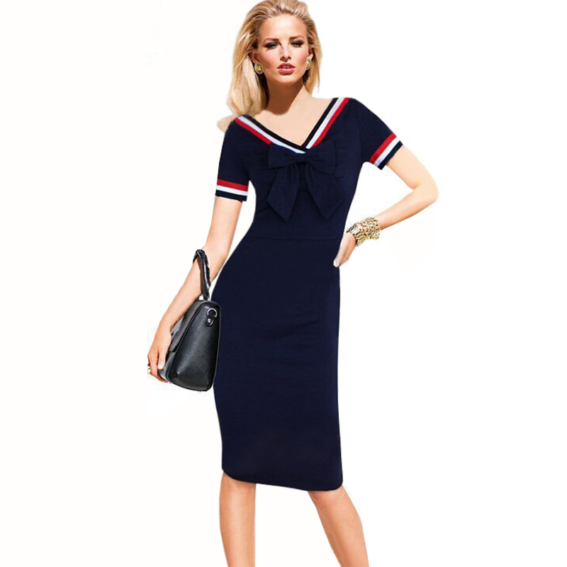 Vintage Polka Dots Short Sleeve Slim Office Casual Women Summer Bow Sheath Bodycon Pencil Dress navy blue color