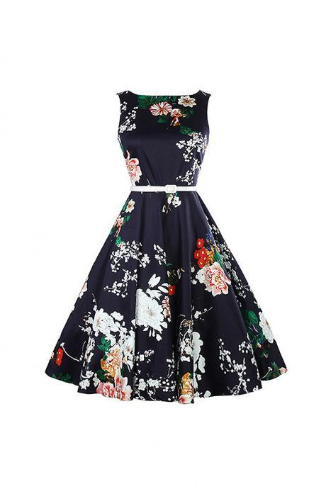Sleeveless Floral Printed Belted A Line Midi Black Casual Dress