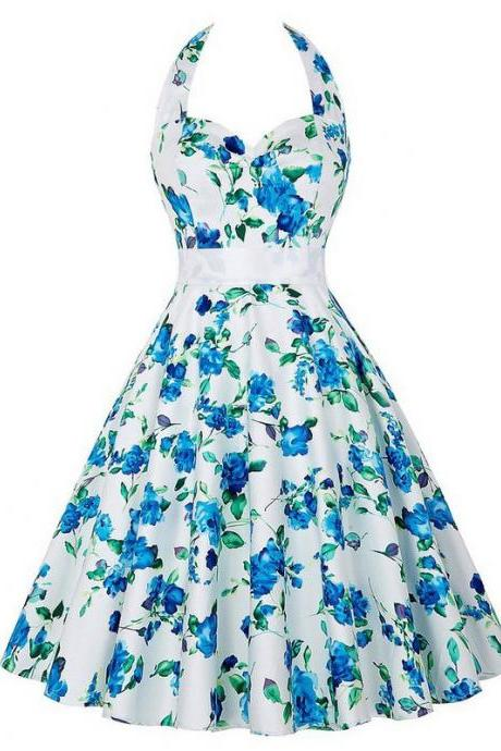 Vintage 50s 60s Swing A Line Dress Women Summer Halter Floral Printed Retro Casual Dress 6#