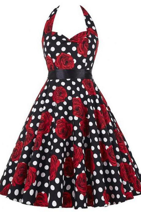Vintage 50s 60s Swing A Line Dress Women Summer Halter Floral Printed Retro Casual Dress 8#