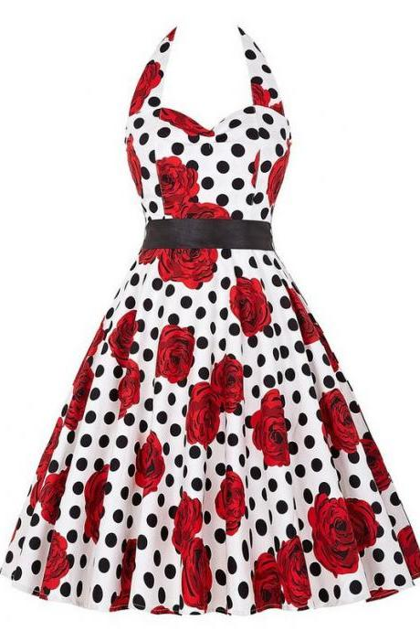 Vintage 50s 60s Swing A Line Dress Women Summer Halter Floral Printed Retro Casual Dress 9#