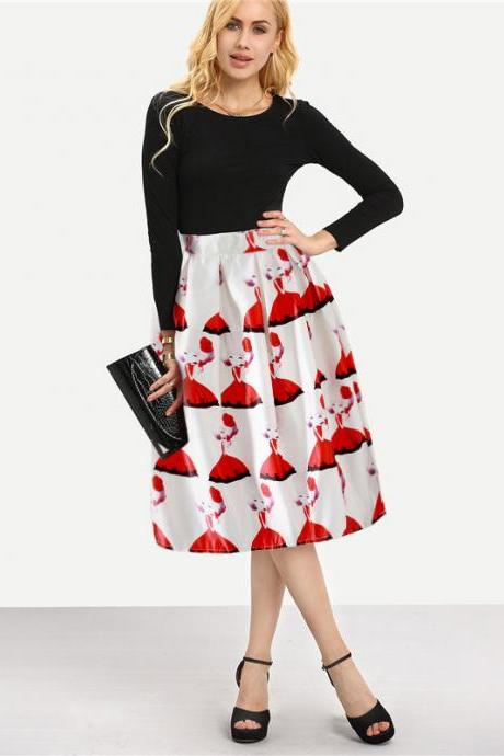 Women High Waist Print Skirt Floral Pleats Skater Ball Gown Knee Length Vintage A-Line Skirts 3#