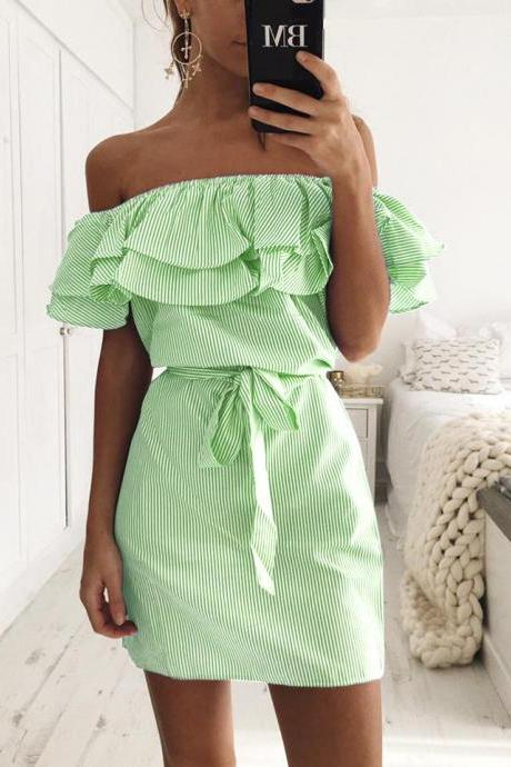 2017 Ruffles Slash Neck Women Dress Summer Style Off Shoulder Butterfly Sleeve Striped Mini Belted Dress Green Color