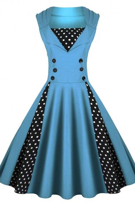 Women S-5XL 50s 60s Retro Vintage Dress Polka Dot Patchwork Sleeveless Casual Dress Rockabilly Swing Short Party Dress blue Color