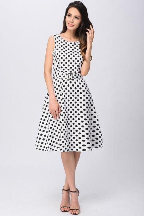 Women Summer Sleeveless O-Neck Polka Dot Printed Hepburn Knee Length Belted Swing Vintage Dress white color