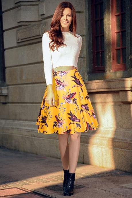 Yellow Bird and Floral Print High Rise Knee Length A-Line Skirt