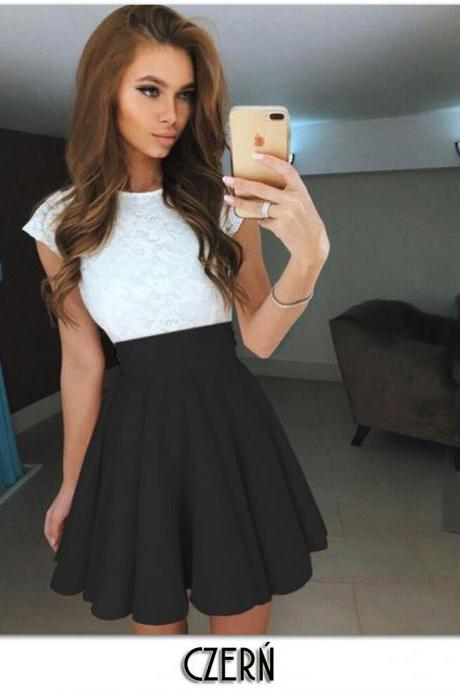 Summer Mini A Line Girls Skirt Women Elastic High Waist Short Skater Skirt Women Clothing Bottoms black