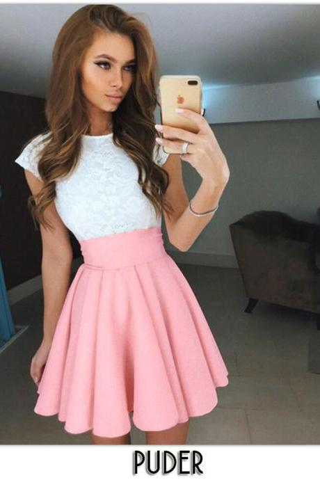 Pink High Rise Ruffled Mini Skater Skirt