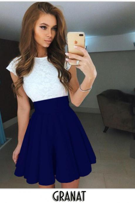 Royal Blue High Rise Short Ruffled Skater Skirt