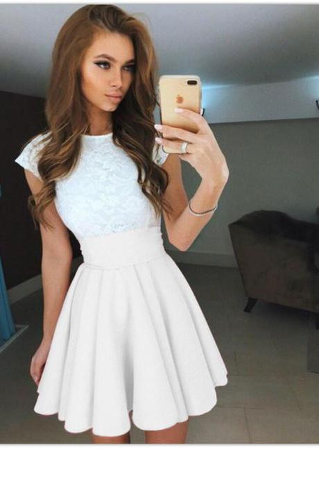 White High Rise Short Ruffled Skater Skirt