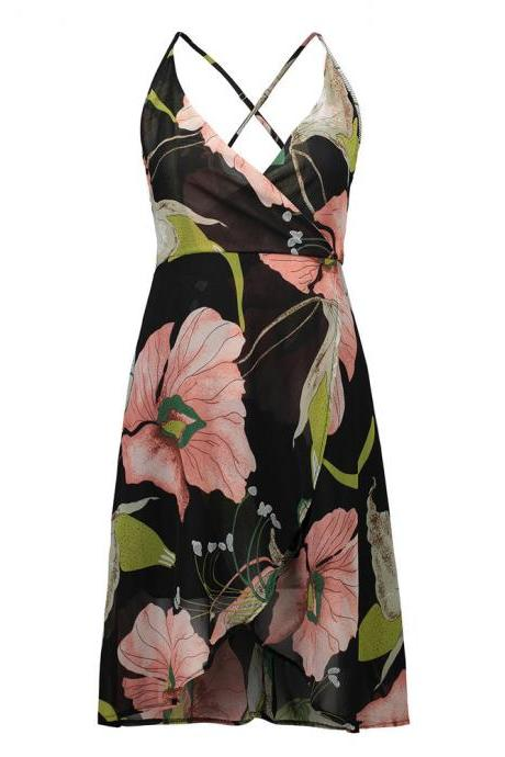 Boho Summer Women Dress Sexy V Neck Backless Floral Print Party Dresses Asymmetrical Hem Casual Beach Sundress2#