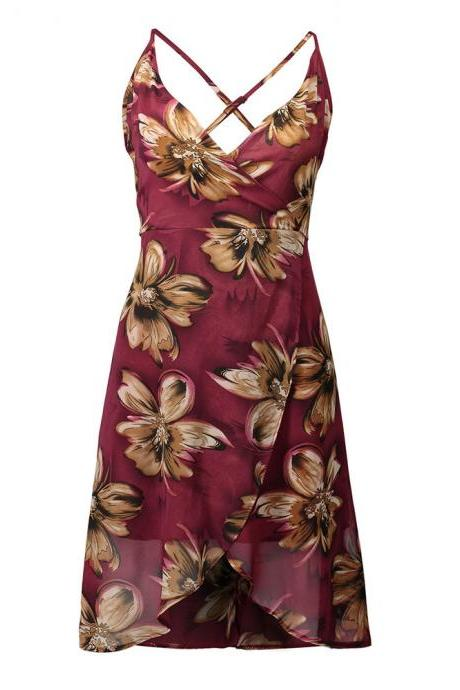 Red Floral Print Plunge V Spaghetti Straps Short Wrap Dress Featuring Criss-Cross Open Back