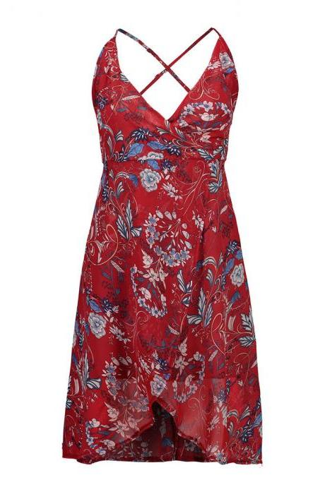 Red Floral Print Plunge V Short Wrap Dress Featuring Asymmetrical Hem and Strappy Back