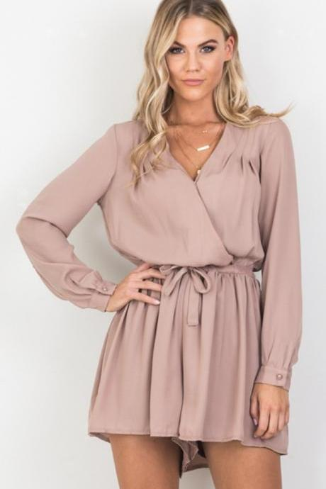Plunge V Long Cuff-Sleeved Wrap Romper Featuring Bow Accent Waist and Keyhole Back