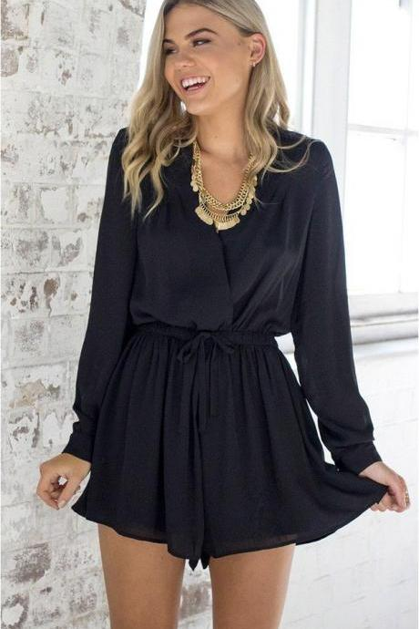 Black Long Sleeved Plunge V Wrap Romper