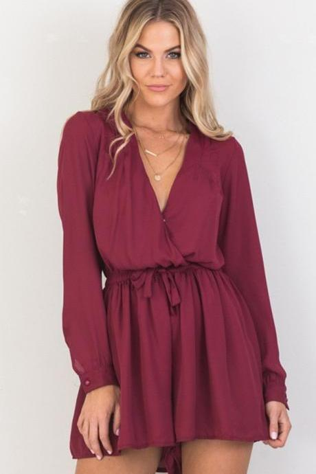 Burgundy Chiffon Plunge V Long Sleeved Romper Featuring Bow Accent Drawstring