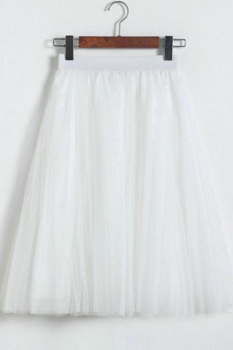 3 Layers Tulle Tutu Skirt Women Summer Pleated Midi Skirt High Waist Petticoat Under skirt off white