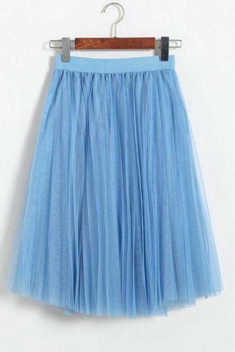 3 Layers Tulle Tutu Skirt Women Summer Pleated Midi Skirt High Waist Petticoat Under skirt sky blue