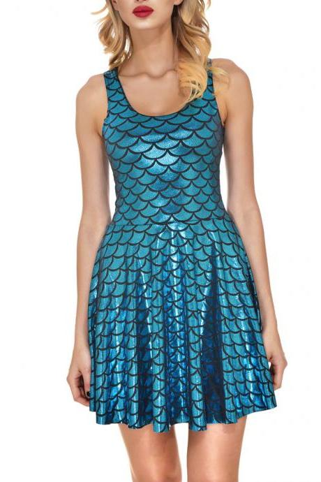 Sexy Multi Candy Color Mini Dress Summer Metallic Sleeveless Fish Scales Short Dress Costume Party Clubwear Vestidos blue