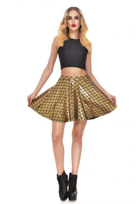 Summer Fish Scale Print Short Skirt Women High Waist Mini Skater Skirt Sexy Pleated A Line Skirt gold