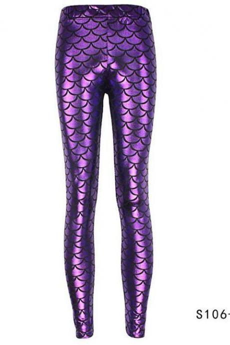 Fashion Silk Milk Fish Scale Print Mermaid Leggings Women Stretch Ankle Length Trousers Seamless Shiny Casual Leggings fuchsia