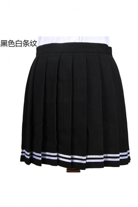 Girls High Waist Pleated Skirt Anime Cosplay School Uniform JK Student Girls Solid A Line Mini Skirt black+white
