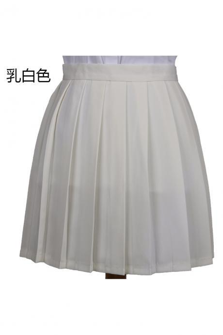 Girls High Waist Pleated Skirt Anime Cosplay School Uniform JK Student Girls Solid A Line Mini Skirt cream