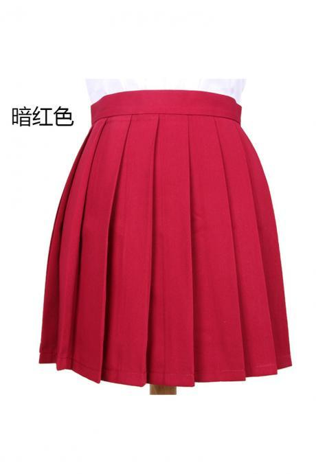 Girls High Waist Pleated Skirt Anime Cosplay School Uniform JK Student Girls Solid A Line Mini Skirt dark red