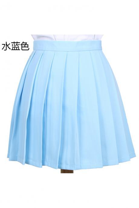 Girls High Waist Pleated Skirt Anime Cosplay School Uniform JK Student Girls Solid A Line Mini Skirt light blue