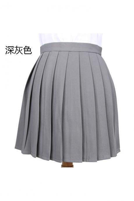 Girls High Waist Pleated Skirt Anime Cosplay School Uniform JK Student Girls Solid A Line Mini Skirt dark gray