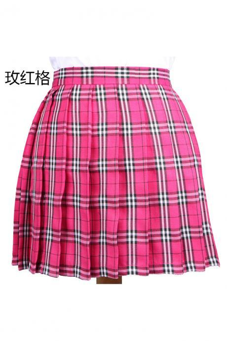 Harajuku 2017 Women Fashion Summer high waist pleated skirt Cosplay plaid skirt Girl A Line Mini Skirt hot pink