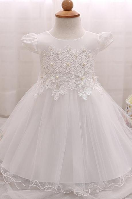 Baby Baptism Dress Summer Baby Flower Girl Wedding Gown Princess Lace Toddler Tutu Birthday Dress 1 2 Years white