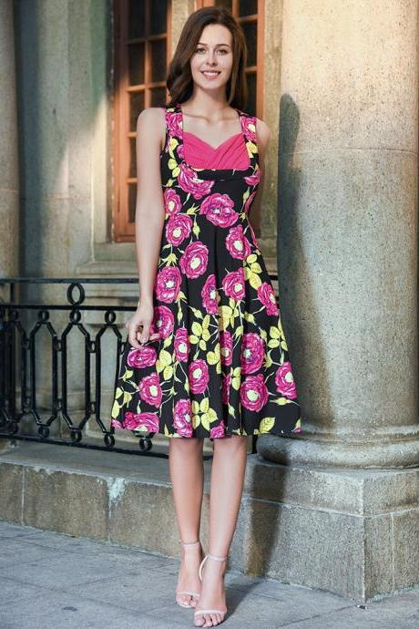 Summer Dress 2017 Vintage Rockabilly Dress Retro Jurken 60s 50s Big Swing Floral Pinup Women Audrey Hepburn Dress Vestidos C882-hot pink