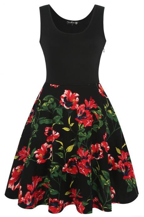 Vintage Floral Print Patchwork Women Dress Summer Retro Evening Party Sleeveless Casual Swing Dress black