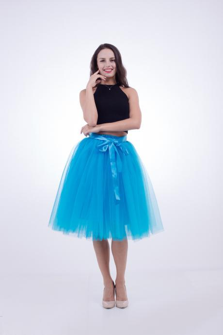 6 Layers Midi Tulle Skirts Womens Tutu Skirt Elegant Wedding Bridal Bridesmaid Skirt Lolita Underskirt Petticoat blue
