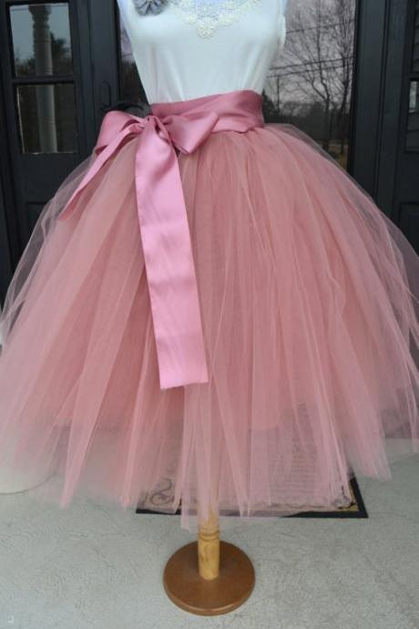 6 Layers Midi Tulle Skirts Womens Tutu Skirt Elegant Wedding Bridal Bridesmaid Skirt Lolita Underskirt Petticoat blush