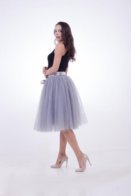 6 Layers Midi Tulle Skirts Womens Tutu Skirt Elegant Wedding Bridal Bridesmaid Skirt Lolita Underskirt Petticoat gray