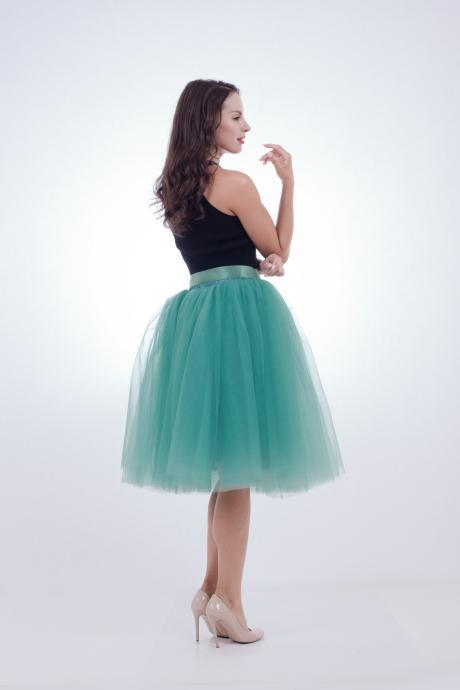 6 Layers Midi Tulle Skirts Womens Tutu Skirt Elegant Wedding Bridal Bridesmaid Skirt Lolita Underskirt Petticoat light teal