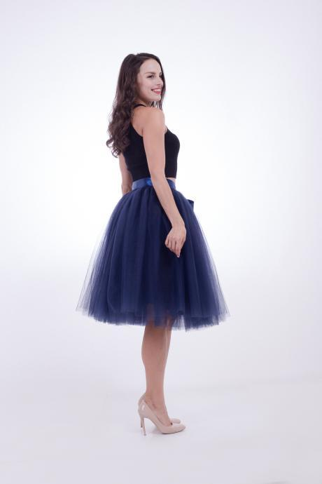 6 Layers Midi Tulle Skirts Womens Tutu Skirt Elegant Wedding Bridal Bridesmaid Skirt Lolita Underskirt Petticoat navy blue