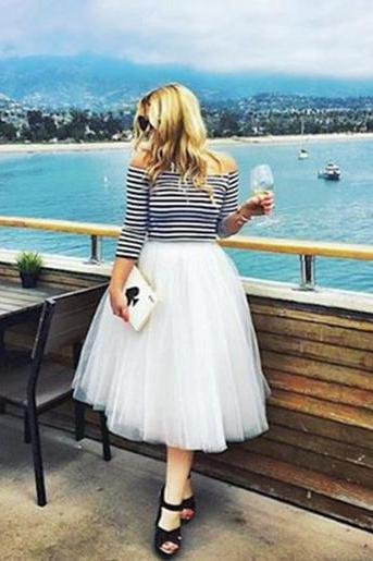 6 Layers Midi Tulle Skirts Womens Tutu Skirt Elegant Wedding Bridal Bridesmaid Skirt Lolita Underskirt Petticoat off white