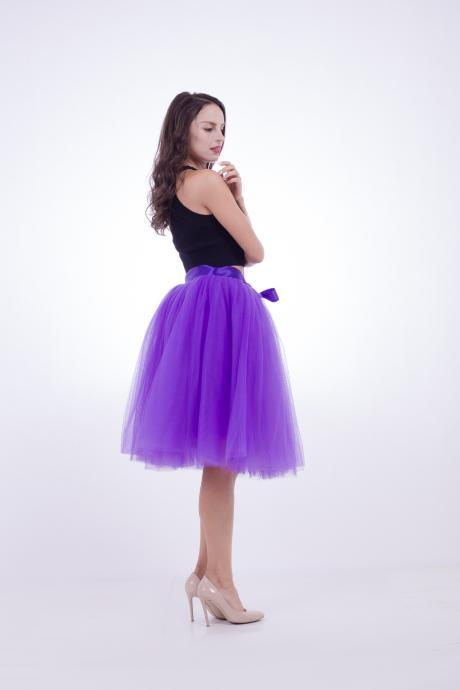 6 Layers Midi Tulle Skirts Womens Tutu Skirt Elegant Wedding Bridal Bridesmaid Skirt Lolita Underskirt Petticoat purple
