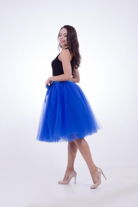 6 Layers Midi Tulle Skirts Womens Tutu Skirt Elegant Wedding Bridal Bridesmaid Skirt Lolita Underskirt Petticoat royal blue