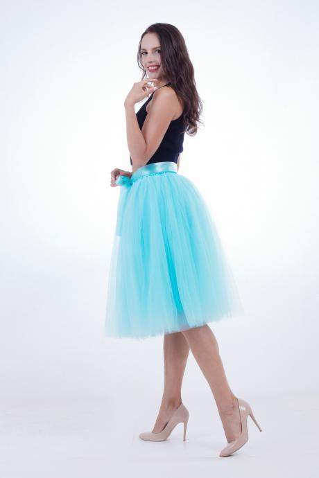 6 Layers Midi Tulle Skirts Womens Tutu Skirt Elegant Wedding Bridal Bridesmaid Skirt Lolita Underskirt Petticoat sky blue