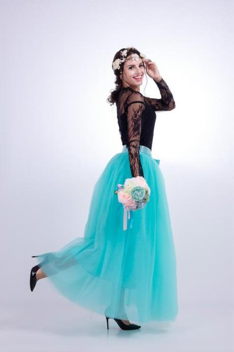 6 Layers Tulle Skirt Summer Maxi Long Muslim Skirt Womens Elastic Waist Lolita Tutu Skirts aqua