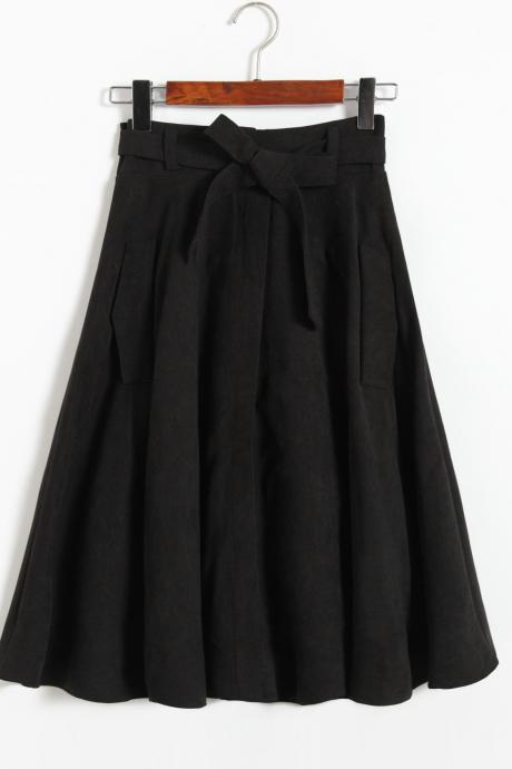 Black Bow Accent High Rise A-Line Midi Skirt