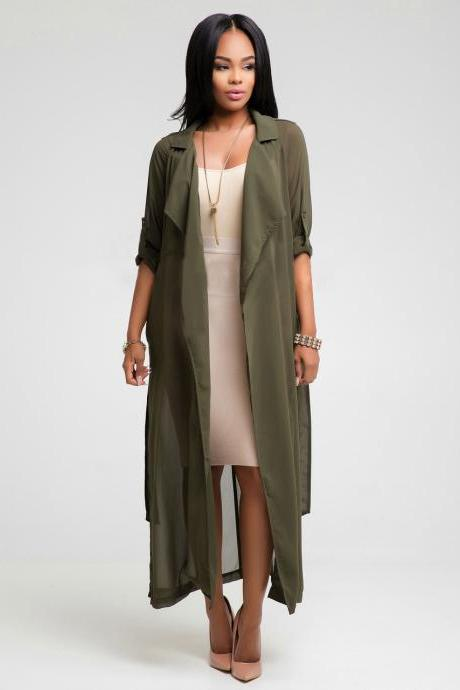 Fashion Spring Autumn Women Long Sleeve Side Split Maxi Coat Extra Long Trendy Chiffon Belted Cardigan Long Blouse army green