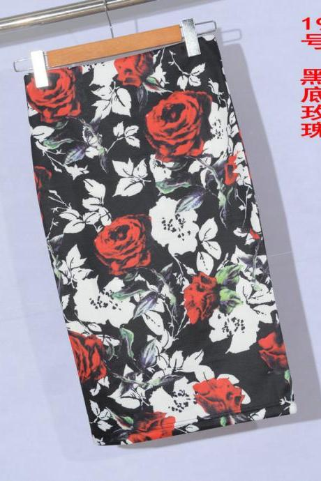 Womens Knee Length Sexy Midi Skirts Mermaid Floral Print High Waist Pencil Skirt Slim Bodycon Elastic Skirts 19#
