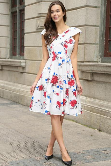 Vintage 50s 60s Floral Printed Women Cusual Dress Cross V-Neck Cap Sleeve Rockabilly Pinup Big Swing A Line Short Party Dress C866-white