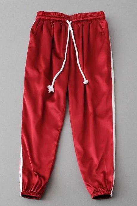 Red Casual Trousers, Joggers, Sweatpants with Side White Stripe
