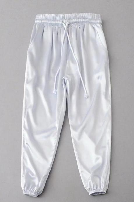Silver High Waist Drawstring Casual Joggers, Sweatpants, Sports Pants